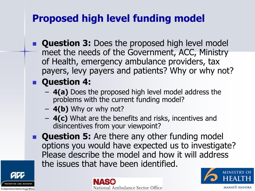 Proposed high level funding model