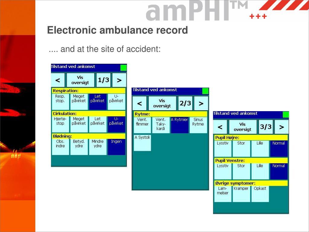 Electronic ambulance record