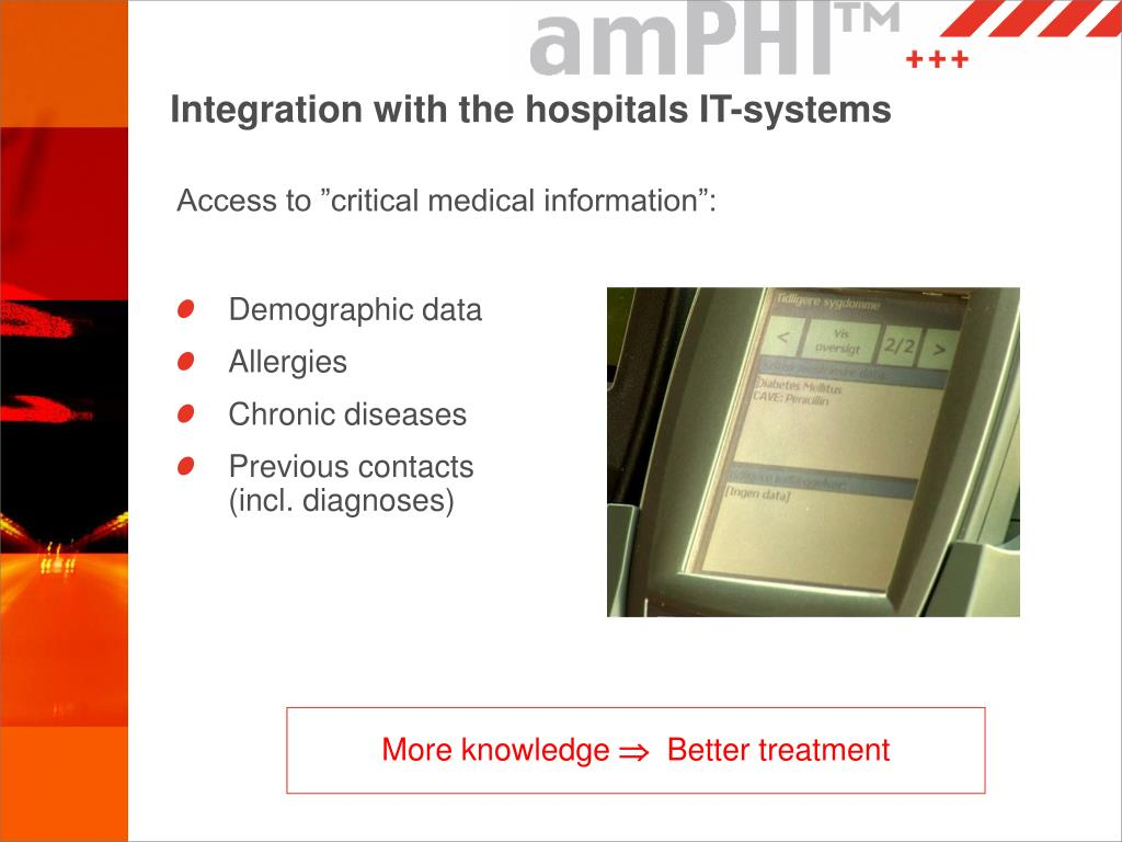 Integration with the hospitals IT-systems