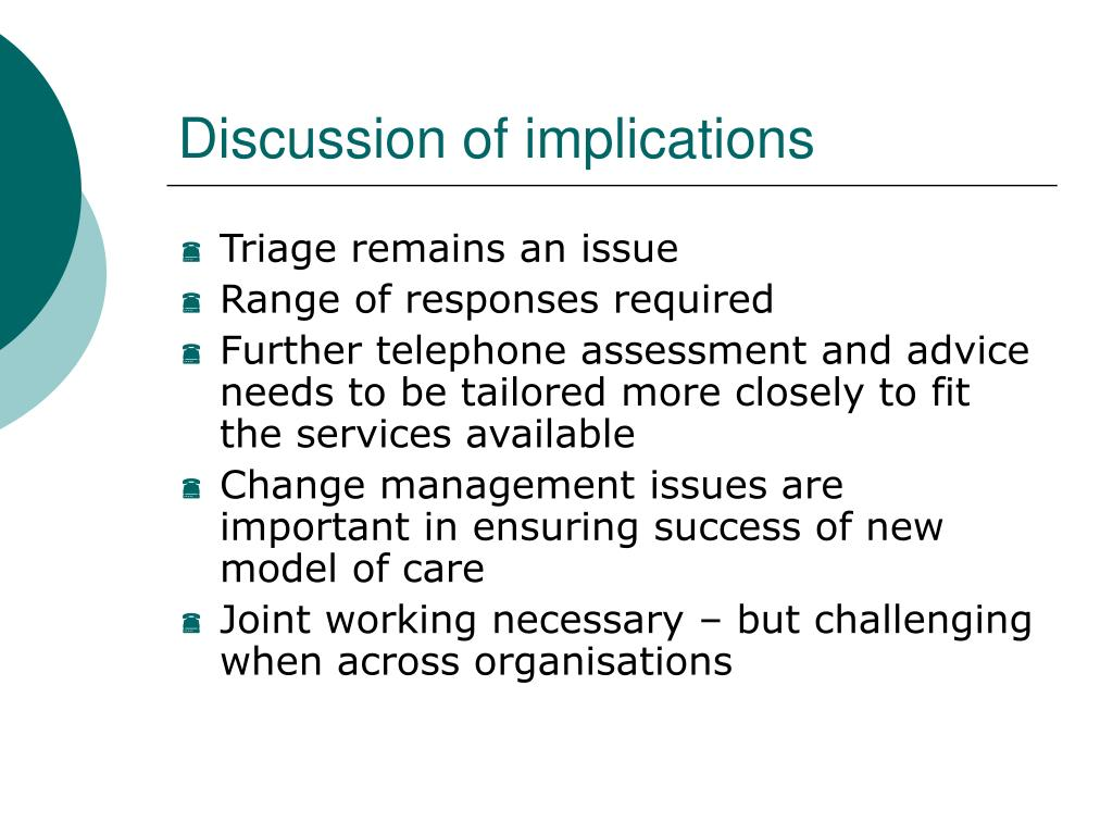 Discussion of implications