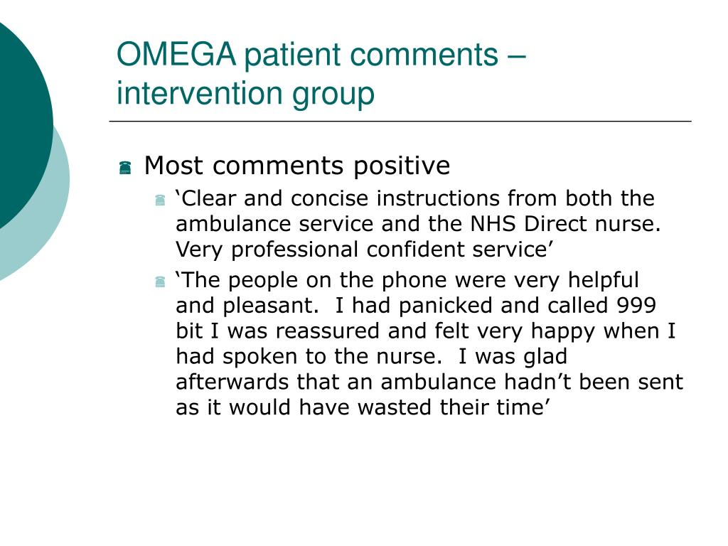 OMEGA patient comments – intervention group