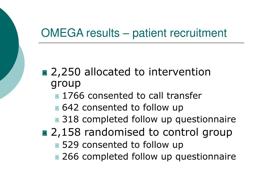 OMEGA results – patient recruitment