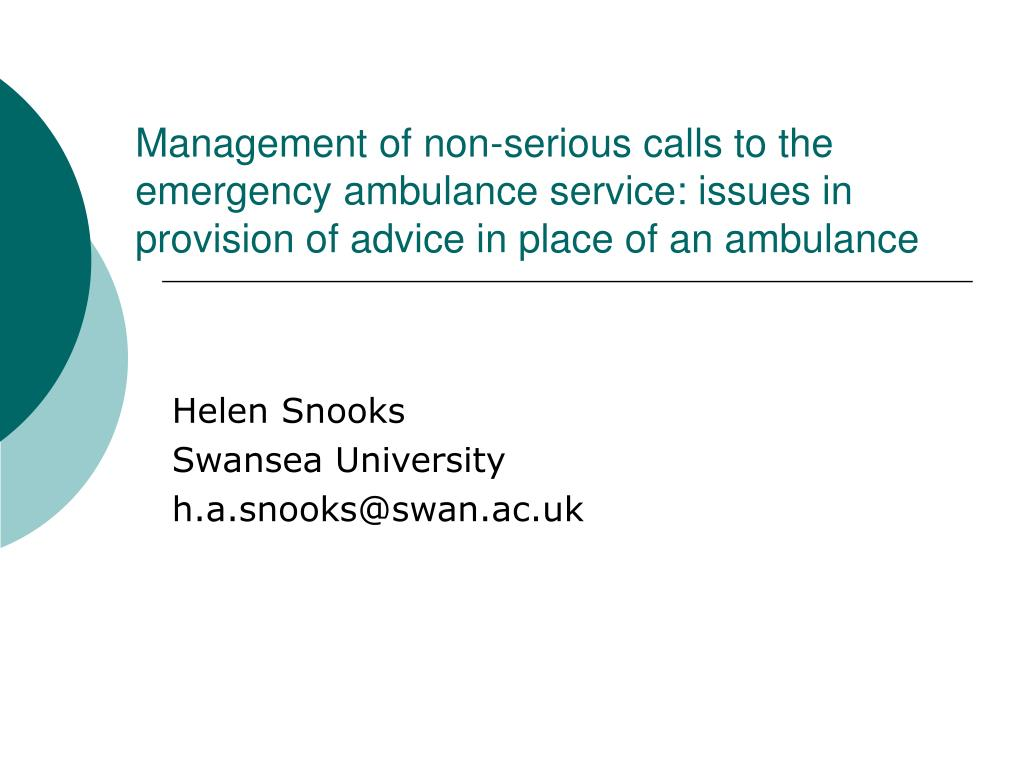 Management of non-serious calls to the emergency ambulance service: issues in provision of advice in place of an ambulance