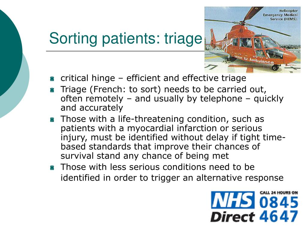 Sorting patients: triage