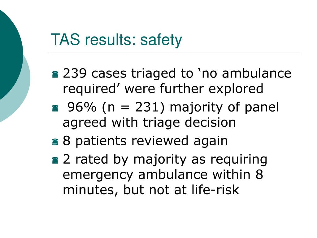 TAS results: safety