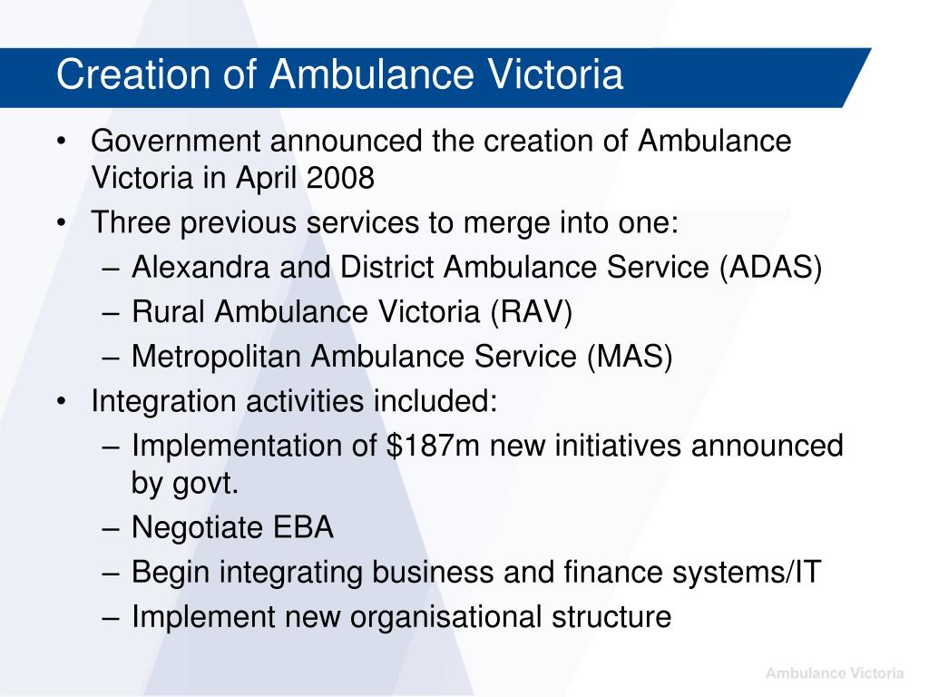 Creation of Ambulance Victoria