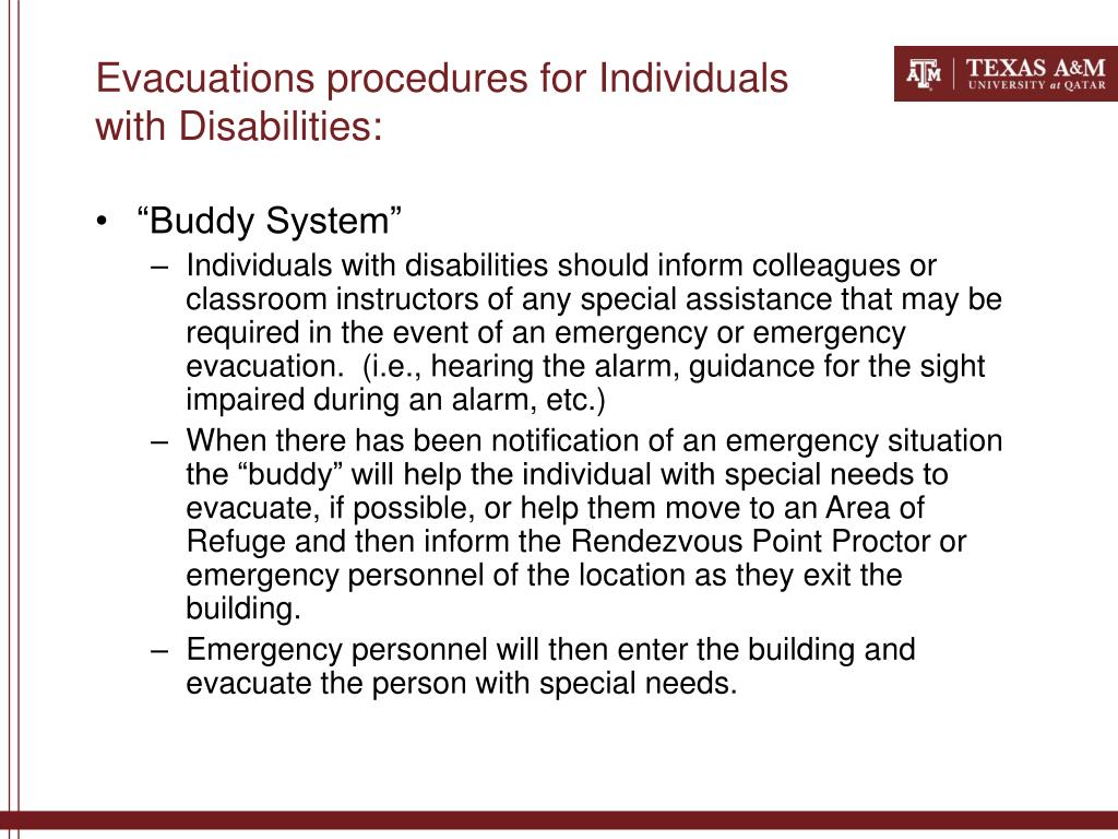 Evacuations procedures for Individuals with Disabilities: