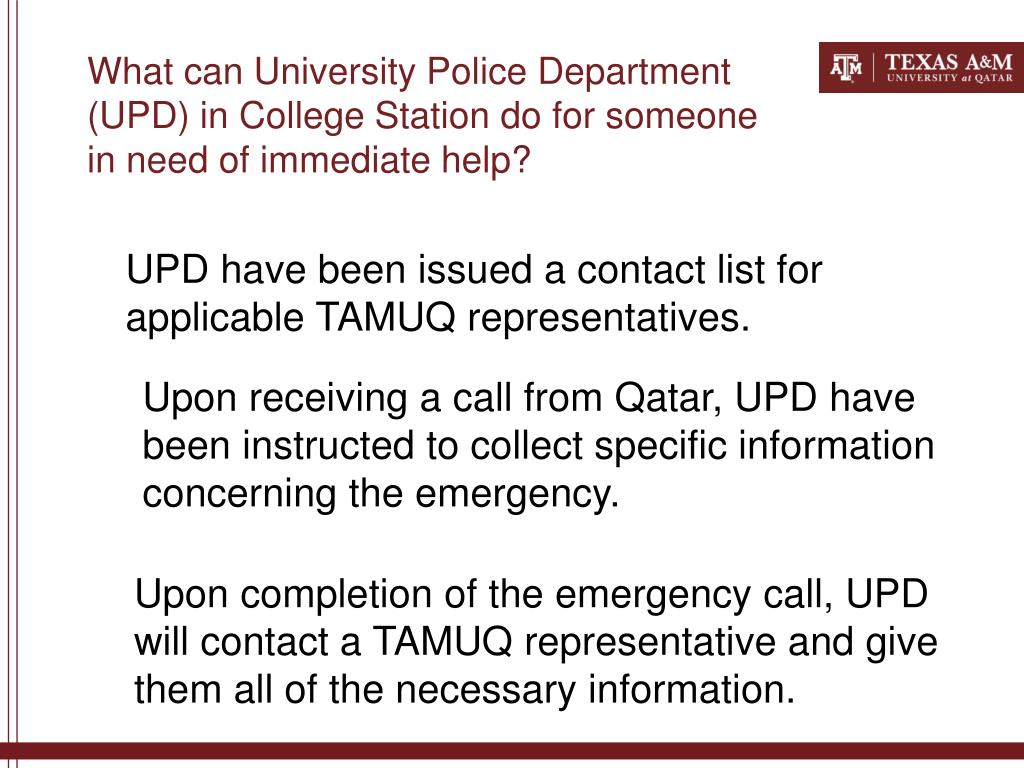 What can University Police Department (UPD) in College Station do for someone in need of immediate help?