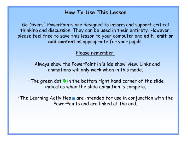 How To Use This Lesson