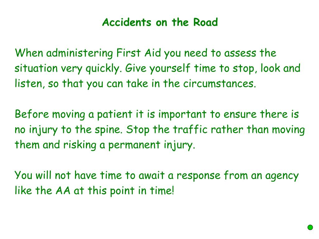 Accidents on the Road