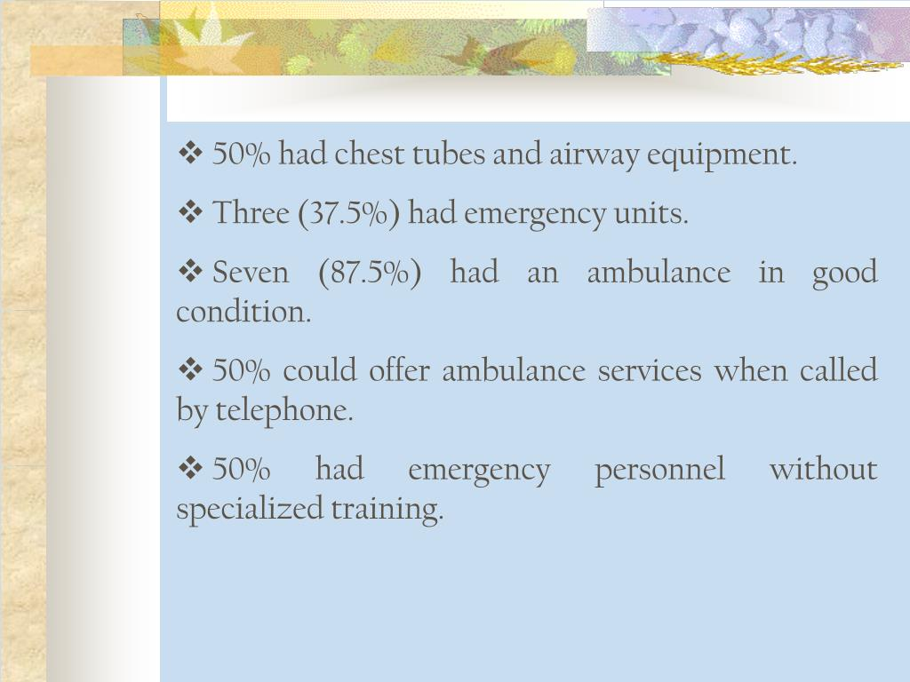 50% had chest tubes and airway equipment.