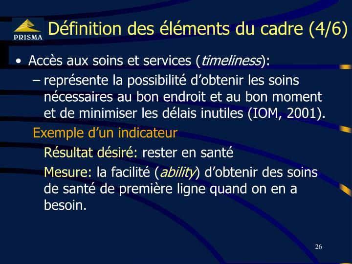 Définition des éléments du cadre (4/6)
