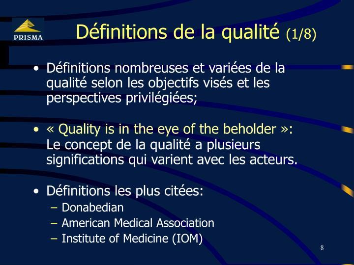 Définitions de la qualité