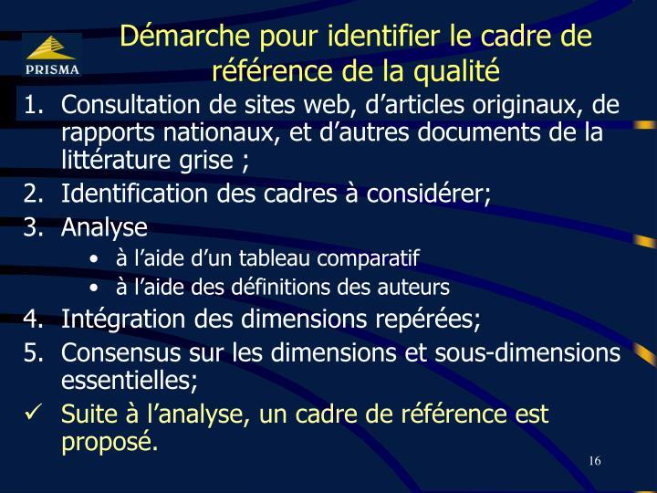 Démarche pour identifier le cadre de référence de la qualité