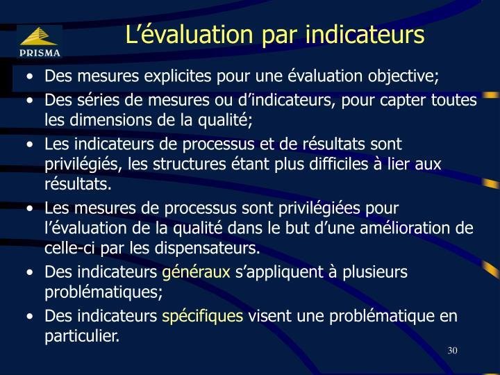 L'évaluation par indicateurs