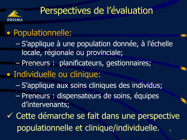 Perspectives de l'évaluation