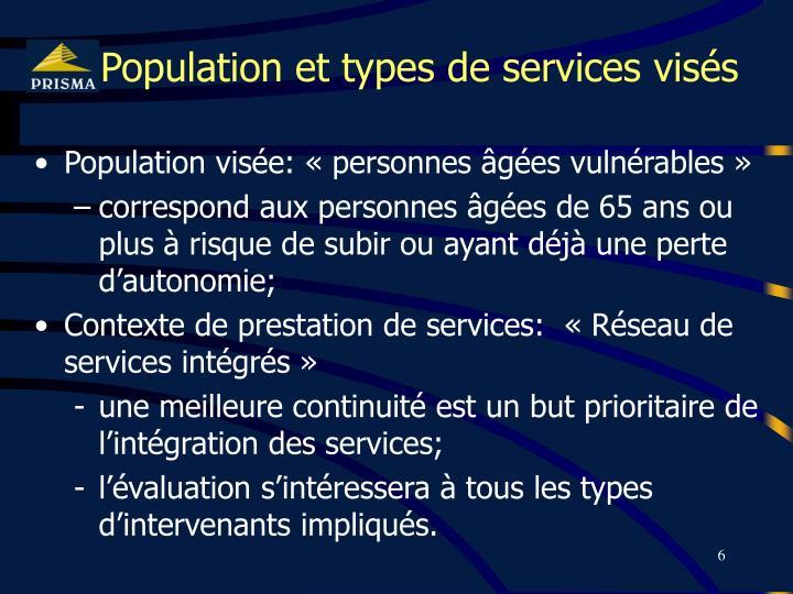 Population et types de services visés