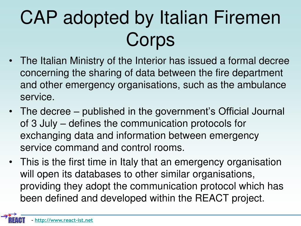 CAP adopted by Italian Firemen Corps