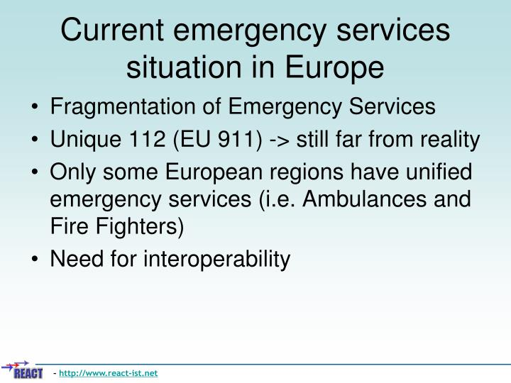 Current emergency services situation in europe l.jpg
