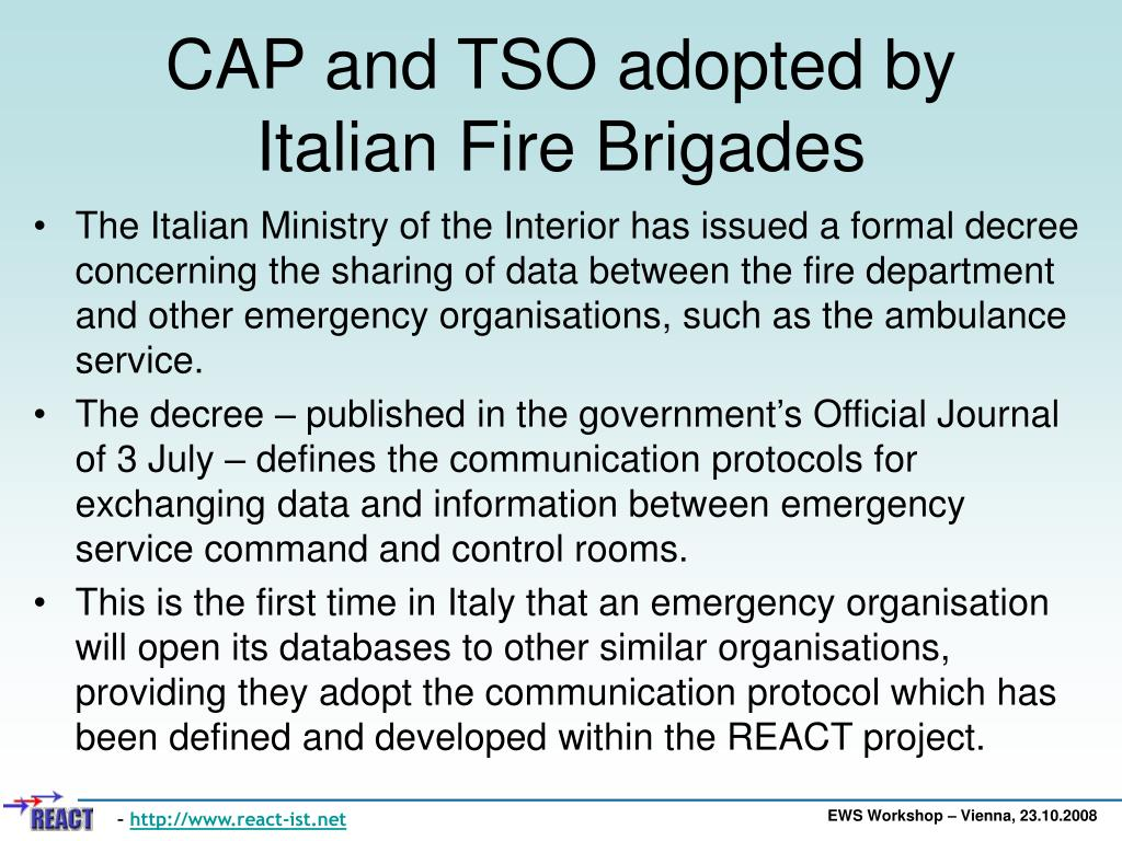 CAP and TSO adopted by Italian Fire Brigades