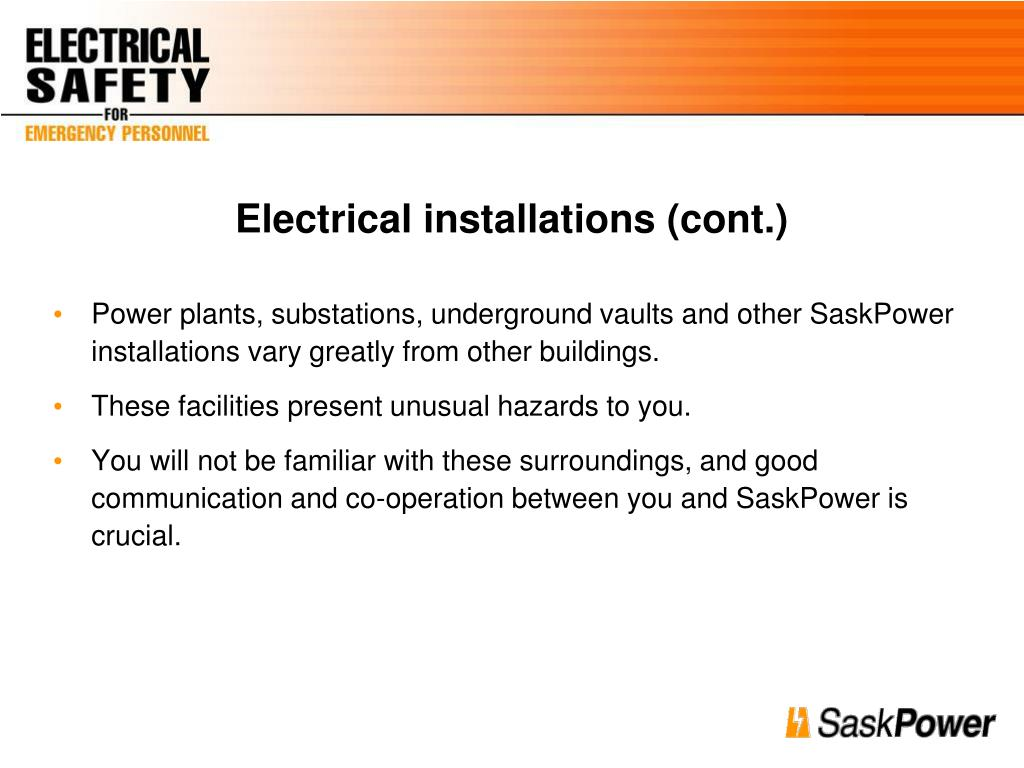 Electrical installations (cont.)