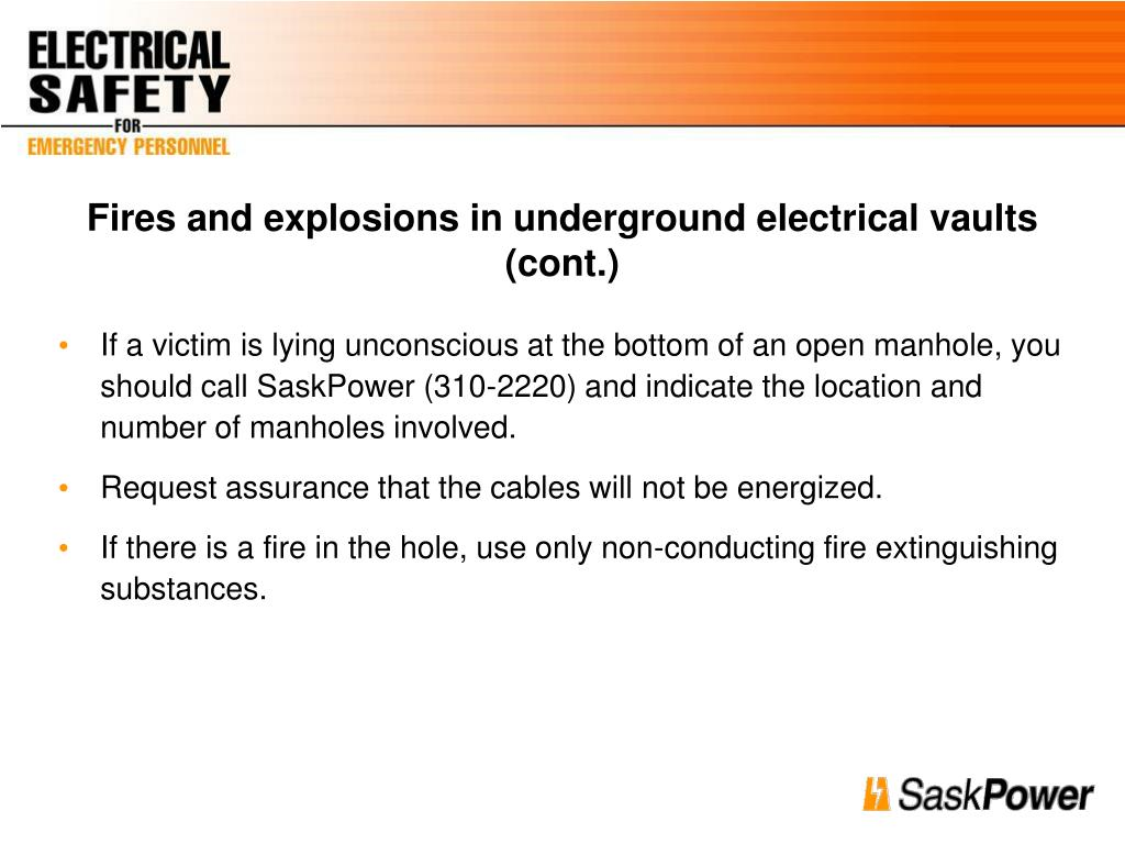 Fires and explosions in underground electrical vaults (cont.)