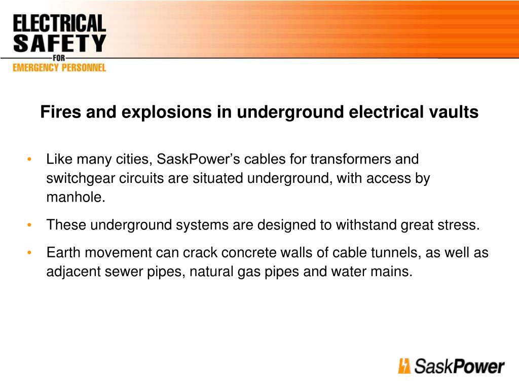 Fires and explosions in underground electrical vaults