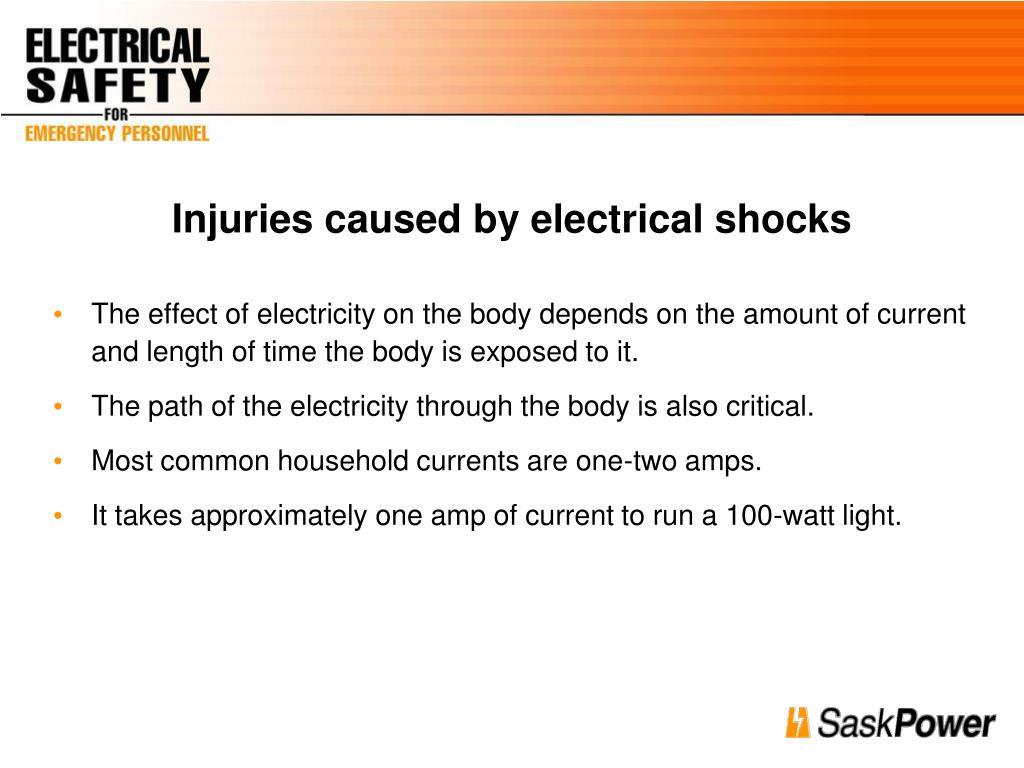 Injuries caused by electrical shocks