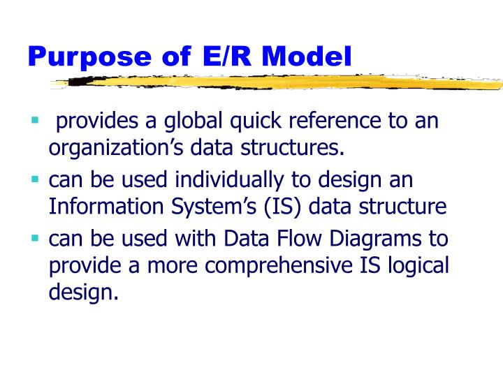 Purpose of E/R Model