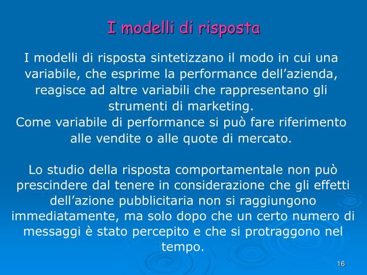 I modelli di risposta