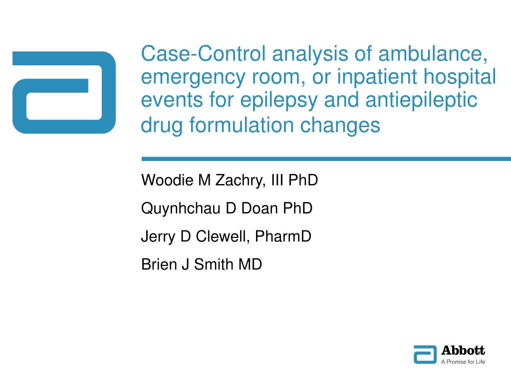 Case-Control analysis of ambulance, emergency room, or inpatient hospital events for epilepsy and antiepileptic drug formulation changes