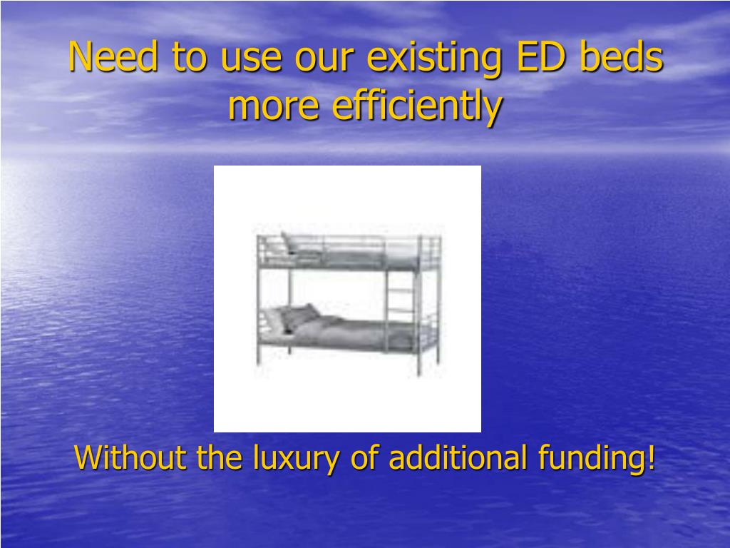 Need to use our existing ED beds more efficiently