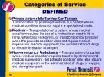categories of service defined