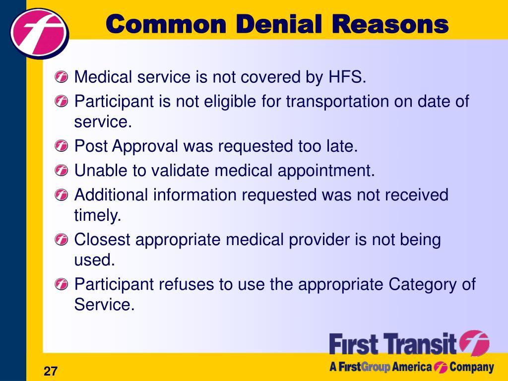 Common Denial Reasons