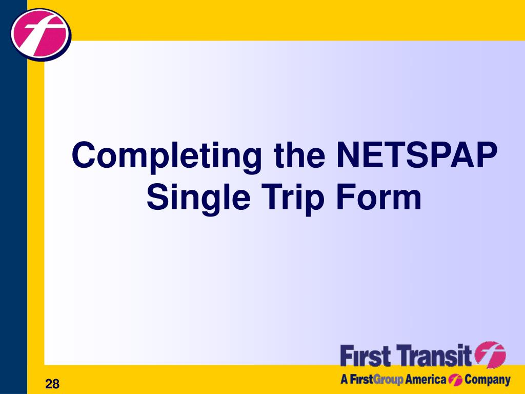 Completing the NETSPAP Single Trip Form