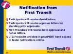 notification from first transit
