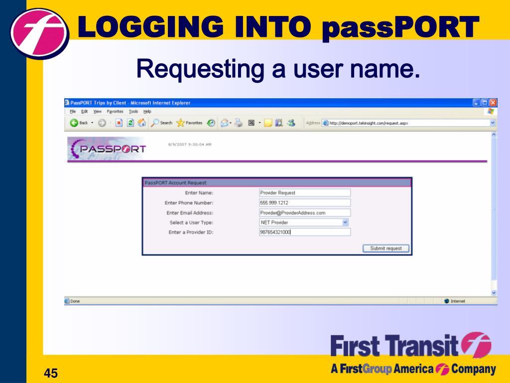 LOGGING INTO passPORT