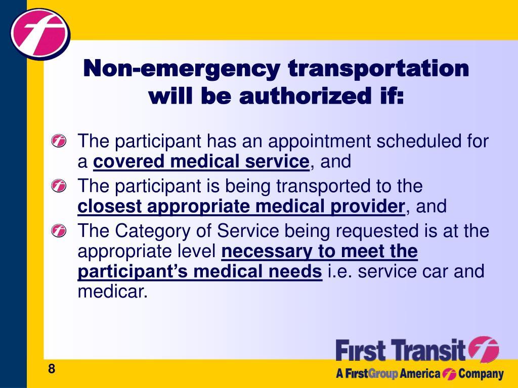 Non-emergency transportation