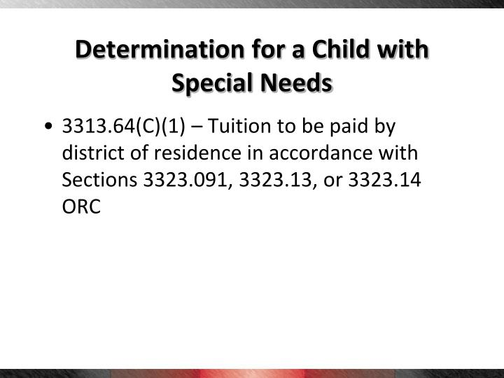 Determination for a Child with Special Needs