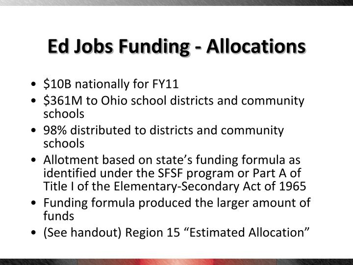 Ed Jobs Funding - Allocations