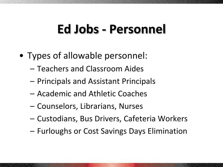 Ed Jobs - Personnel