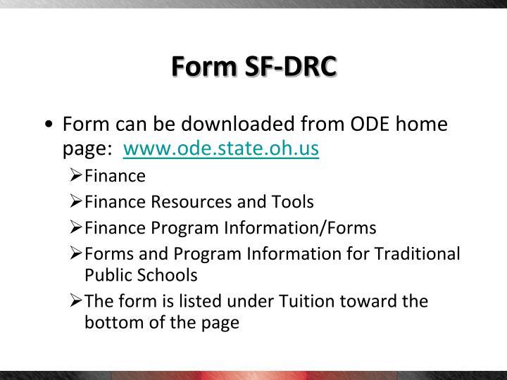 Form SF-DRC