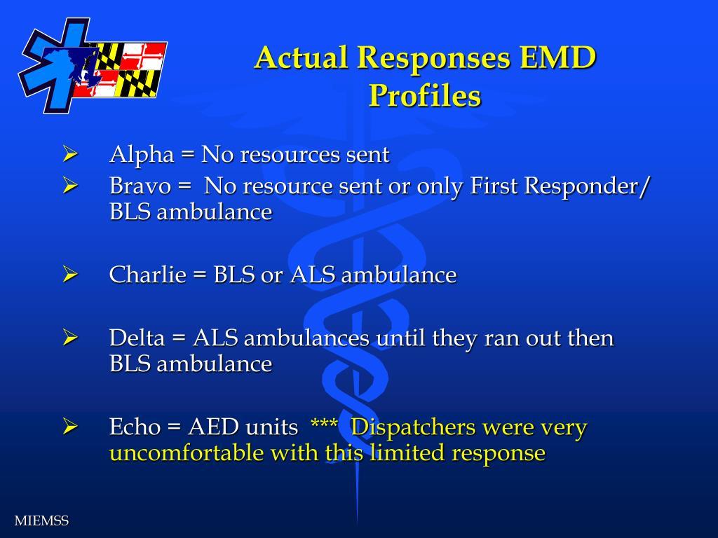 Actual Responses EMD Profiles