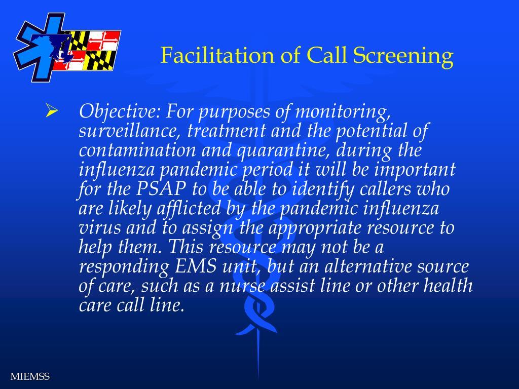 Facilitation of Call Screening