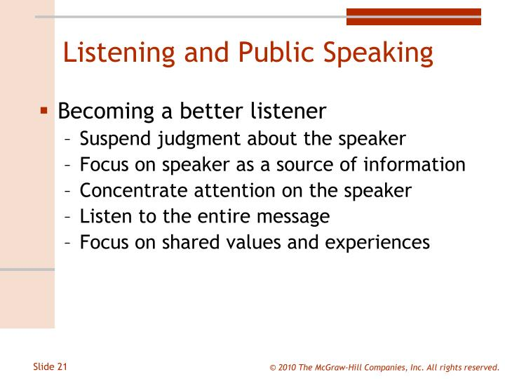 Listening and Public Speaking