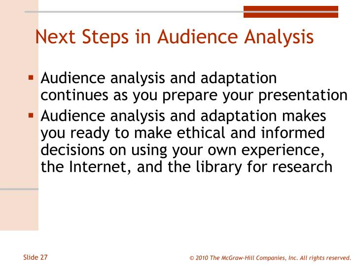 Next Steps in Audience Analysis