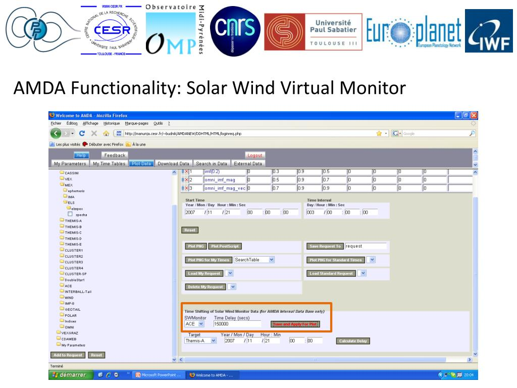 AMDA Functionality: Solar Wind Virtual Monitor