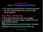 a planetary overview feature 2 classifying the planets
