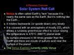 a planetary overview solar system roll call6