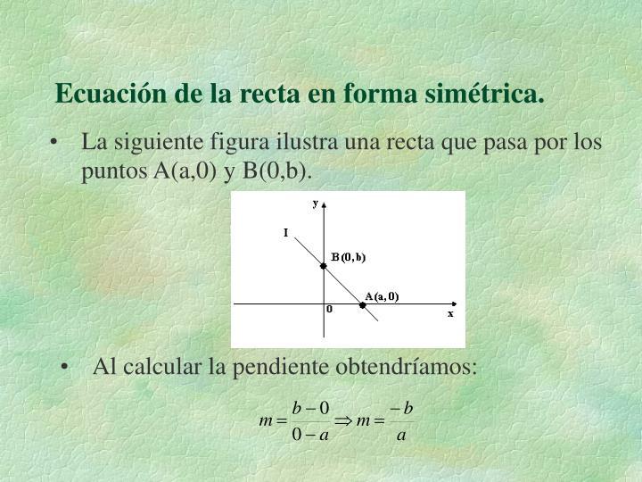 Ecuación de la recta en forma simétrica.